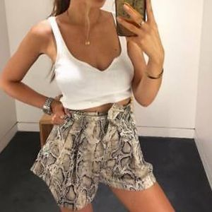 Zara snakeskin shorts